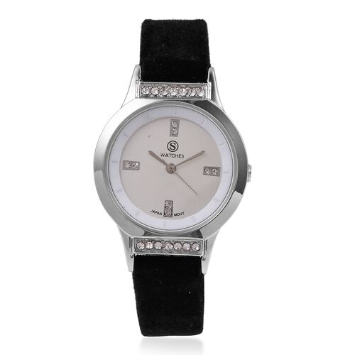 New Season-STRADA Japanese Movement White Austrian Crystal Studded Water Resistant Watch in Silver Tone with Black Velvet Strap