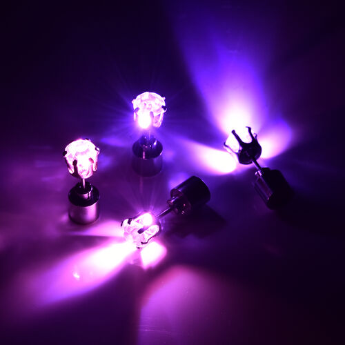 Set of 2 -  White Austrian Crystal with Pink and Purple LED Light Stud Earrings (with Push Back) in Silver Tone