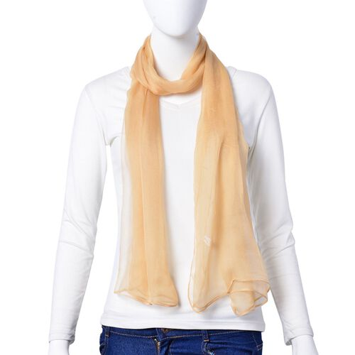 One Time Deal - 100% Mulberry Silk Iced Coffee Colour Scarf (Size 170X70 Cm)