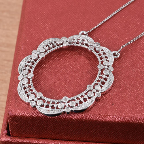 Designer Inspired-Diamond (Rnd) Necklace (Size 18 with 2 inch Extender) in Platinum Overlay Sterling Silver 0.500 Ct.