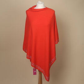 Kris Ana Diamonte Trim Poncho (One Size, Fits Approx 8-18) - Orange