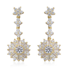 ELANZA Simulated White Diamond (Rnd) Dangle Earrings (with Push Back) in 14K Gold Overlay Sterling Silver, Silver wt 5.44 Gms.