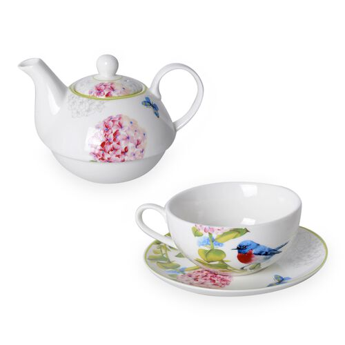 Set of 3 - Pink Hydrangea with Bird Pattern Porcelain Tea Set (1 Pot, 1 Mug and 1 Saucer)