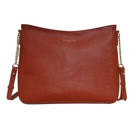 Assots London LOUISA - 100% Genuine Leather Handbag with Shoulder Strap (30x7x24cm) - Red