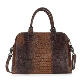 100% Genuine Leather Croc Embossed RFID Protected Handbag with Detachable Shoulder Strap (Size 35.5x