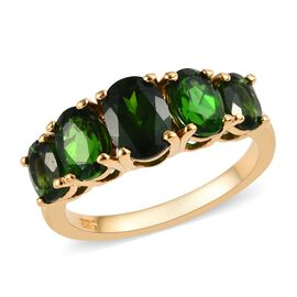 Russian Diopside (Oval) 5 Stone Ring in 14K Gold Overlay Sterling Silver 2.75 Ct.