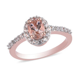 Marropino Morganite and Natural Cambodian Zircon Ring in Rose Gold Overlay Sterling Silver 1.50 Ct.