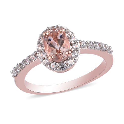 Moroppino Morganite and Natural Cambodian Zircon Ring in Rose Gold Overlay Sterling Silver 1.50 Ct.