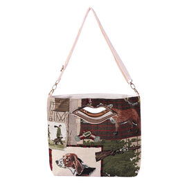 Dog and Tree Jacquard Pattern Crossbody Bag with Metallic Lip-Shaped Top Handles in Multi Colour