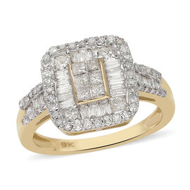 9K Yellow Gold SGL Certified Diamond (I2-I3/G-H) Ring 1.00 Ct.