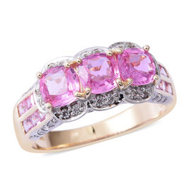 Limited Edition- Exteremely Rare AAA 9K Yellow Gold Pink Sapphire (Cushion 5mm and Princess Cut), Natural White Cambodian Zircon Ring 2.700 Ct