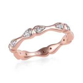 J Francis - Rose Gold Overlay Sterling Silver (Rnd) Ring Made with SWAROVSKI ZIRCONIA