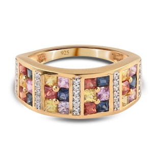 Multi Sapphire and Natural Cambodian Zircon Ring in 14K Gold Overlay Sterling Silver 1.72 Ct.