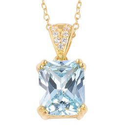 ELANZA Simulated Aquamarine (Oct), Simulated Diamond Pendant With Chain (Size 18) in 14K Gold Overla
