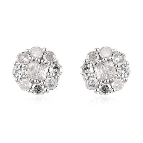 Platinum Overlay Sterling Silver Diamond Stud Earrings (with push Back) 0.25 Ct.