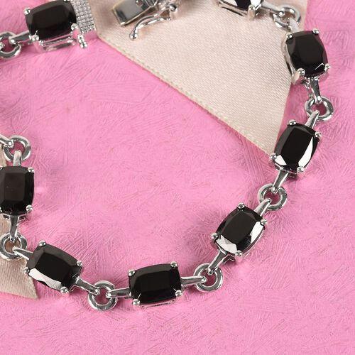 Elite Shungite Bracelet (Size 7) in Platinum Overlay Sterling Silver 9.50 Ct, Silver wt 9.73 Gms