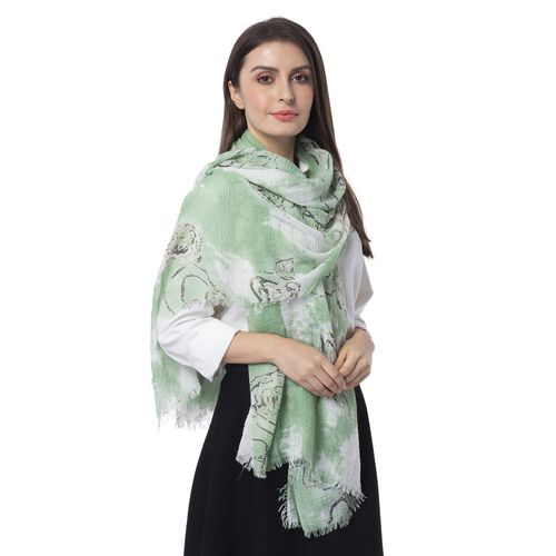 Mint Green, White and Black Colour Art Rose Flower Pattern Scarf (Size 180x90 Cm)