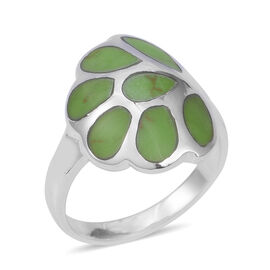 3 Carat Green Turquoise Leaf Pattern Ring in Sterling Silver 7.24 Grams