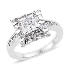 Made with Swarovski Zirconia Halo Ring in Platinum Plated Sterling Silver 4.1 Grams