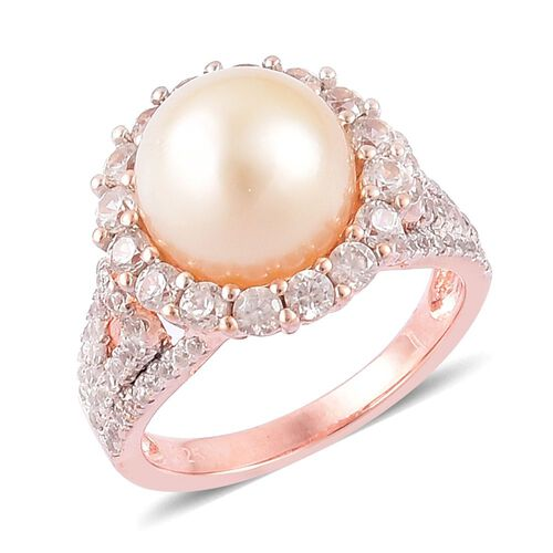 Limited Edition-South Sea Golden Pearl (Rnd 11-11.5mm), Natural Cambodian Zircon Ring in Rose Gold Overlay Sterling Silver, Silver wt 5.13 Gms.