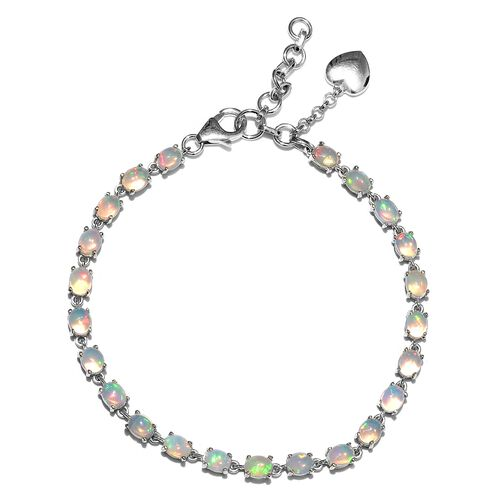 Ethiopian Welo Opal (Ovl) Bracelet (Size 7.25 with 1 Inch Extender) with Heart Charm in Platinum Overlay Sterling Silver 5.750 Ct. Silver wt 5.98 Gms.