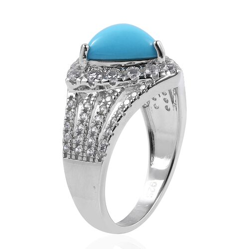 New York Close Out-  Arizona Sleeping Beauty Turquoise (Extremely Rare Shape Trillion), Natural White Cambodian Zircon Ring in Rhodium Overlay Sterling Silver 4.560 Ct