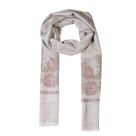 100% Cashmere Wool Paisley Design Scarf (Size 70x200 Cm) - Beige