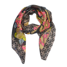 100% Mulberry Silk Floral Print Scarf (Size 100x100 Cm) - Black and Multicolour