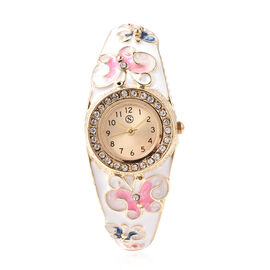 STRADA Japanese Movement White Austrian Crystal Studded Water Resistant Enamelled Butterfly Pattern
