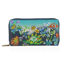SUKRITI PREMIER Super Soft Genuine Leather Handprint RFID Protected Floral Vine Wallet (Size 18.5x10