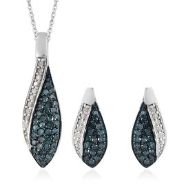 Set of 2 - Blue and White Diamond (Rnd) Earrings (with Push Back) and Pendant With Chain in Platinum