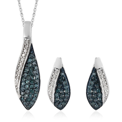 Set of 2 - Blue and White Diamond (Rnd) Earrings (with Push Back) and Pendant With Chain in Platinum Overlay with Blue Plating Sterling Silver 0.500 Ct.