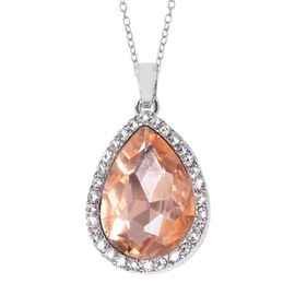 Simulated Morganite (Pear), Austrian White Crystal Drop Pendant With Chain (Size 20 with 2 inch Exte