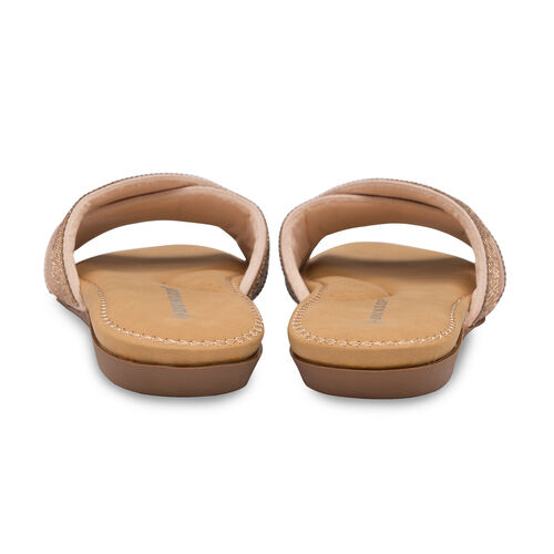 Dunlop Embellished Open Toe Slip on Flat Slider Sandals (Size 3) - Rose Gold