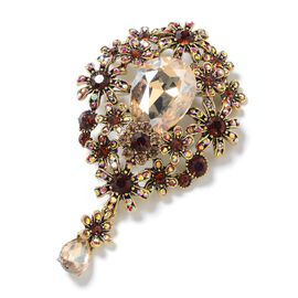 Simulated Champagne Diamond (Pear 29x20 mm), Multi Colour Austrian Crystal Brooch in Gold Tone