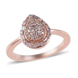 9K Rose Gold Natural Pink Diamond (Rnd and Bgt) Ring 0.250 Ct.