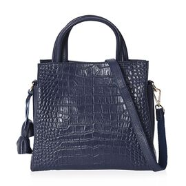 100% Genuine Leather Croc Embossed Tote Bag with Detachable Shoulder Strap (Size 28x25x11 Cm) - Navy