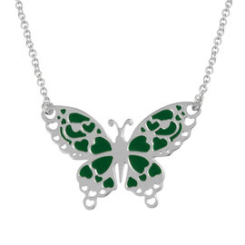 Enamelled Butterfly Necklace in Sterling Silver 3.35 Grams 18 Inch