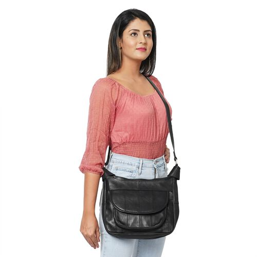 New Arrival - 100% Genuine Leather Hobo Bag with Flap Pocket in Front and Adjustable Shoulder Strap (Size 29x23x8cm) - Black