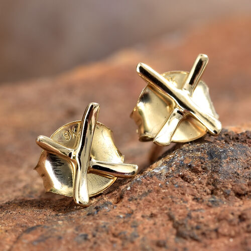 Close Out Deal 9K Yellow Gold Kiss Stud Earrings (with Push Back)