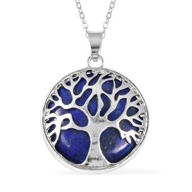 Lapis Lazuli (Rnd) Tree of Life Pendant With Chain (Size 24) in Stainless Steel 15.00 Ct.