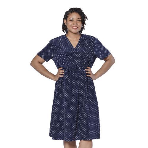 LA MAREY Vintage Style Polka Dot Print Wrap Dress in Navy (Size S, 10)