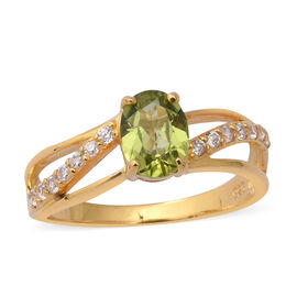 Chinese Peridot (1.30 Ct),Cambodian White Zircon Sterling Silver Ring  1.800  Ct.