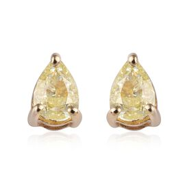 9K Yellow Gold Natural Yellow Diamond Solitaire Stud Earrings (with Push Back) 0.50 Ct.