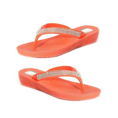 Ella Diamante Toe Post Sandals (Size 3) - Red