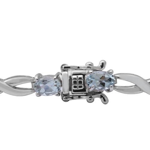 Santa Teresa Aquamarine Bracelet (Size - 7) in Rhodium Overlay Sterling Silver 3.60 ct, Sliver Wt. 8.70 Gms