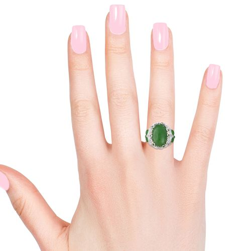 Green Jade (Ovl 22x15 mm), Natural White Cambodian Zircon and Russian Diopside Ring in Rhodium Overlay Sterling Silver 25.40 Ct, Silver wt 8.5 Gms.