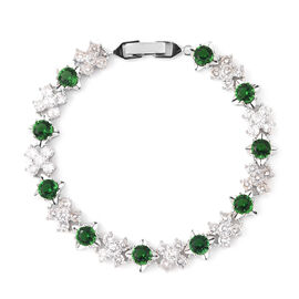 Simulated Diamond and Simulated Emerald Bracelet (Size 6.75) in Silver Tone