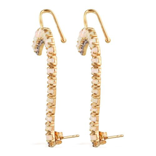 AA Ethiopian Welo Opal (Ovl), Diamond Climber Earrings (with Push Back) in 14K Gold Overlay Sterling Silver 3.760 Ct.