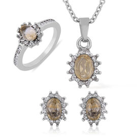 3 Piece Set - Citrine and White Austrian Crystal Ring, Earrings (with Push Back) & Pendant with Chai